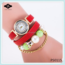 PS0115 9 colors New Arrival Fashion Leather Bracelet Watch Pearl Women Dress chain leather watch