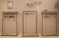 metal retail display systems with wood top and wood base, retail store supplies wholesale, salon retail display