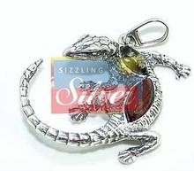 Amber Gemstone with Silver Crocodile Pendant