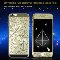 3d Diamond style tempered glass screen protector both sides front and back cover for apple iphone 6 6plus