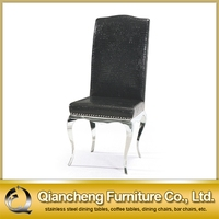 modern black leather metal dining chair C085#