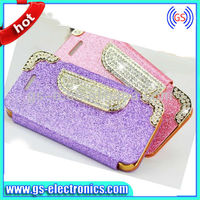 Hot selling diamond crystal bling bling leather handbag case for iphone 4 /4s 5/5s 5C
