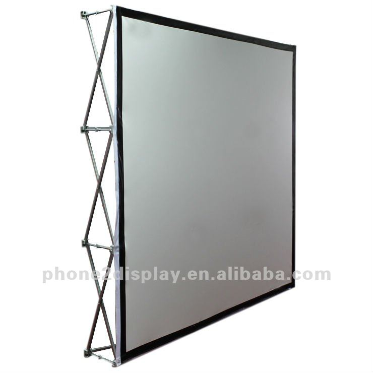 portable rear projection screen The picoscreen series is an ultra light and compact free-standing projection screen that is designed for portable tabletop presentations.