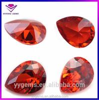 hot sell pear gemstone orange red cz loose stone