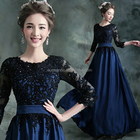 Wholesale long dress 2015 annual meeting of new long sleeve wedding dinner in the blue-black show host
