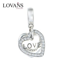 New Design 925 Silver Heart Love Charms Fit European Bracelet Snake Chain S177