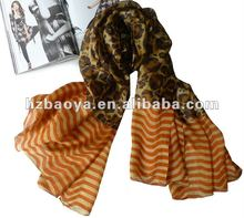 100% Silk leopard pattern fashion scarf