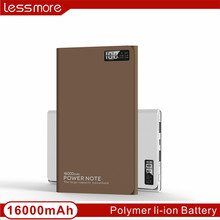 Private lable large capacity with LCD Screen portable mobile battery power bank 16000 mah for digital camera for ipad /iphone