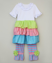 2015 new china wholesale little girls clothing sets childrens outfit 100% cotton baby girl boutique chevron clothing sets
