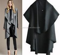 2015 Wholesale Latest Autumn Fashion Lady Noble Elegant Wool Cape Poncho Coat