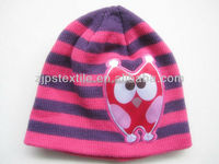 Lovely custom children's jacquard striped knitting beanie kids winter cartoon printed cheap acrylic hat
