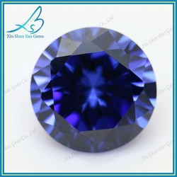 China factory sale round blue synthetic loose cubic zirconia stone wholesale