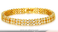 Teemi Wholesale 2015 New Style Olive 4MM Round AAA Cubic Zircon Bracelet for Women Fashion Champagne Gold Plated Jewelry