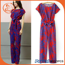 Summer Chiffon Casual Rompers Womens Jumpsuit Loose One Piece Playsuit Sexy Macacao Feminino Red Bowknot Full Length Overalls