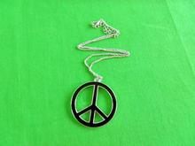Promotion zinc alloy peace necklace,black enamel 3cm diameter peace necklace
