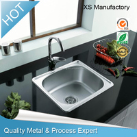 SS 304 Stainless Steel Kitchen Sink with Single bowl top mount for washing