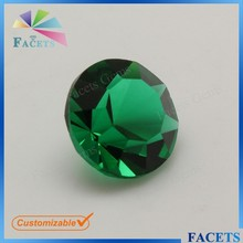 FACETS GEMS Faceted Glass Gems Round Semi Precious Stone Emerald Green