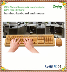 Factory supply 100% Bamboo Handcrafted Keyboard and Mouse Combo, wired and wireless style both available