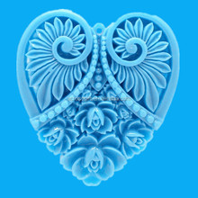 blue heart shape abstract pendant resin sculpture