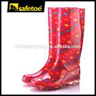 Senhoras elegantes de plástico wellington senhora goma botas de chuva W-6040B