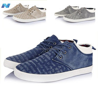 Men Boat Shoes Fashion Canvas Stitches Pattern Lace Up Flats Loafer
