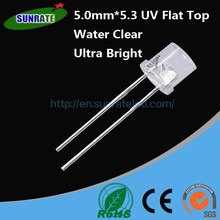 7 Years Warrantee Water Clear High Quality 5mm*5.3 UV Flat Top Lamp LED Purple Diode Light