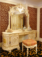 Luxury French Rococo Bedroom Furniture Dresser Table & Mirror/ European Style Antique Vanity Dresser Makeup Table with Mirror