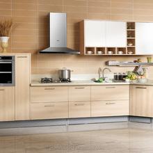 Fashional water resistant fiber plastic kitchen cabinet with quartz counter top