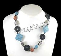11.5-33mm With Wax Cord & Wood & Copper Coated Plastic Lava Beads Necklace