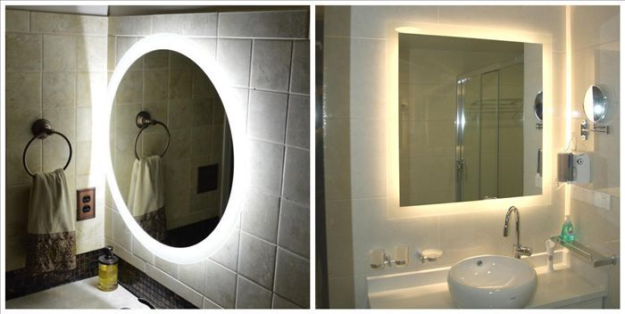 Salle de bains r tro clair pas cher sans cadre miroir for Miroir biseaute sans cadre