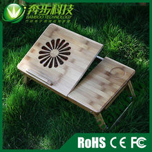 Personally Bamboo Laptop Table with fan - adjustable table