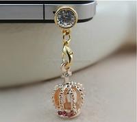 Fashion Diamond Crown Dust Plug Earphone Jack Accessory