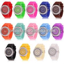 Classic Crystal Geneva Quartz Fashion Colorful Jelly Watch Silicone Diamond 2012