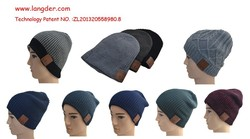 Hot sell cheap bluetooth embroidered knitted beanie hat with pom pom