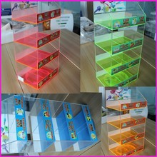 Alibaba Custom Wholesale Perspex Clear Sticker 4 Comparment Tier Accessory USB Cable Charger Display Shelf