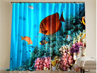 Sea World Fish Picture Curtain 3D Digital Printing Fabric