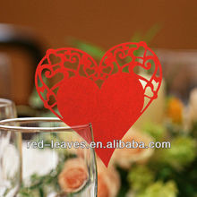 Glass sweet heart wedding invitation card/laser cut invitation place card for wedding