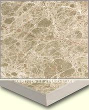 Light Emperador marble laminated with ceramic porcelain tile