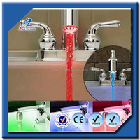 Detected Water Temperature RGB 3 Colors Changing LED Faucet Water Tap ABS Material Chromed Surface