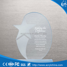 Customized Oval Shaped Clear Acrylic Trophy with Frosting PMMA Trophy and Award