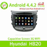 China factory Capacitive touch screen Android 4.4 Car auto raido dvd with mirror link for Hyundai HB20 dashboard