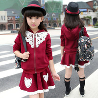 2015 hot girls clothes, children clothing leisure suits simple stylish long-sleeved coat + shirt KID wear