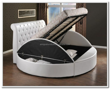 Princess bedroom furniture King size white leather bed