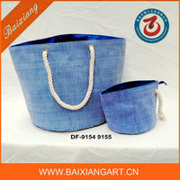Cotton handle paper straw handbag with small pouch Large beach bag set