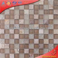 KS015 bright color crystal glass mosaic natural glas mix stone mosaic tile brown glass mix stone mosaic tile