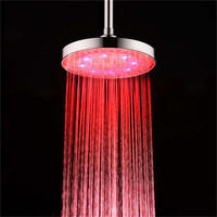 8 inch Red Colors LED ABS Round Top Shower Head, Bathroom Showers