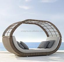 2016 outdoor furniture round daybed rattan wicker round luxury rattan sun lounger