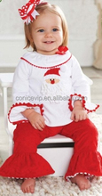 Wholesale Boutique girls christmas ruffles set childrens fashion winter clothing outfit for western girls