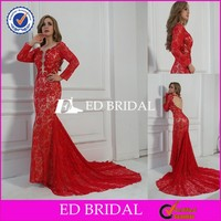 MC18 Sexy Open Back WithTrain Red COlor Mermaid Long Sleeve Lace Evening Dress