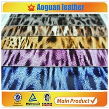2015 china faux tiger/leopard leather for bags in dubai